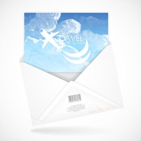 open envelope: Postal Envelopes With Greeting Card Illustration