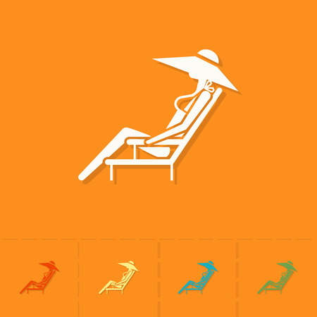 to sunbathe: Summer and Beach Simple Flat Icons. Vector