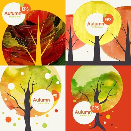 Autumnal Background Set. Vector Illustration.