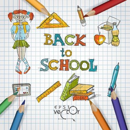 girl apple: School Background Of School Supplies.    Illustration