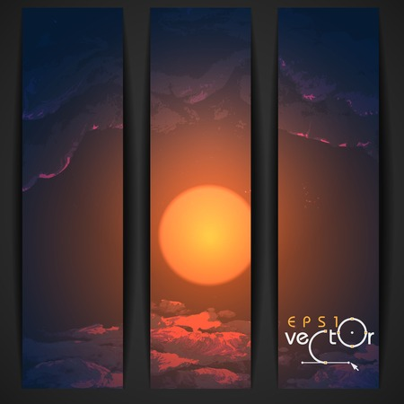 sunrise clouds: Sunset, Sunrise With Clouds. Painting Picture. Vector Illustration