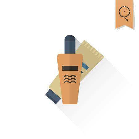 sunburn: Summer and Beach Simple Flat Icon. Vector