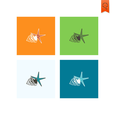 cockleshell: Summer and Beach Simple Flat Icons. Vector
