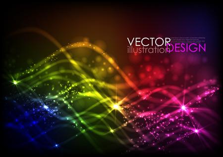 抽象的なネオンの波。ベクトル図  イラスト・ベクター素材