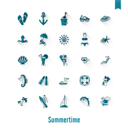 to sunbathe: Summer and Beach Simple Flat Icons, Travel and Vacation. Vector Illustration