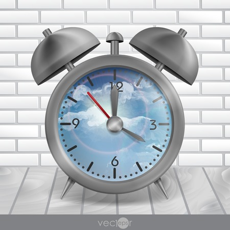 classic style: Metal Classic Style Alarm Clock. Vector Illustration.