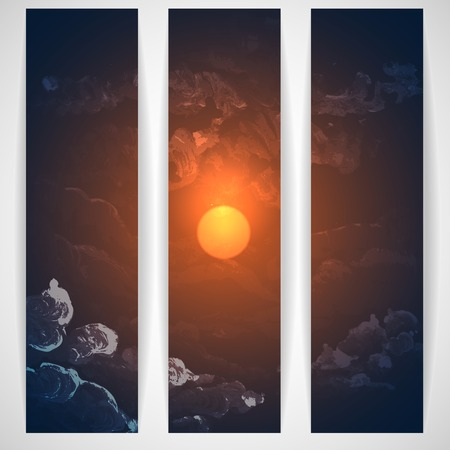 twilight: Sunset, Sunrise With Clouds. Painting Picture. Vector Illustration Illustration