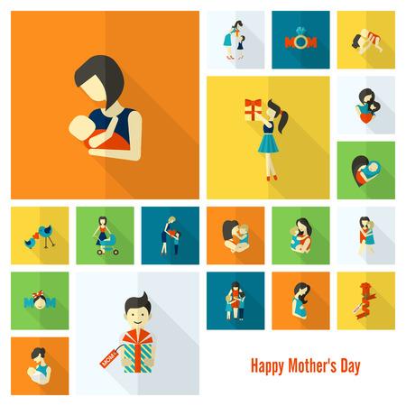 mamá hijo: Día de madres iconos planos simples felices. Vector, Trabajo Limpio, Puntos mínimos