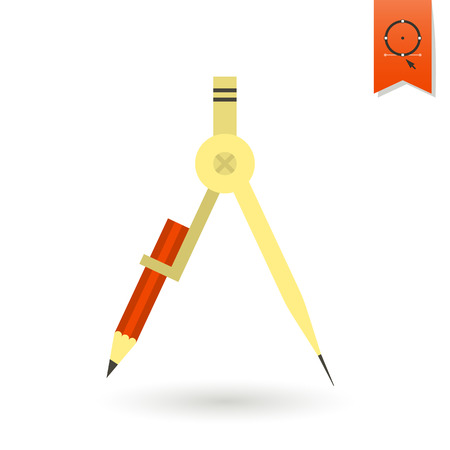 draftsmanship: School and Education Icon - Compass. Vector Illustration. Flat design style Illustration