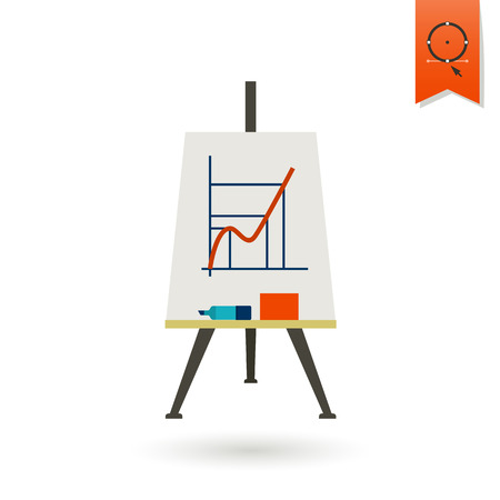 learning icon: School and Education Icon - Flipchart. Vector. Flat design style