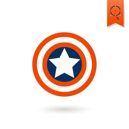 escudo: 4 de julio, Día de la Independencia de los Estados Unidos, Icono plana simple.