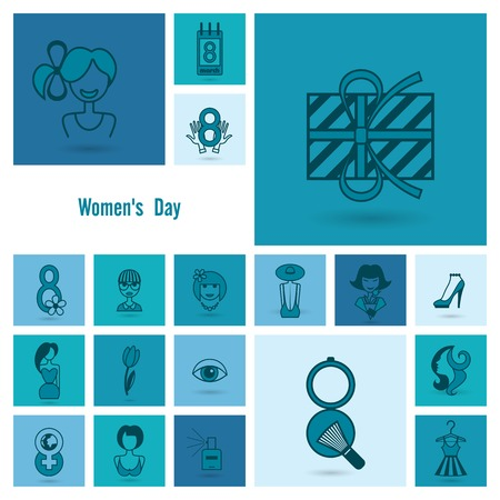 black hair blue eyes: Design Elements for International Womens Day March 8, Icons.