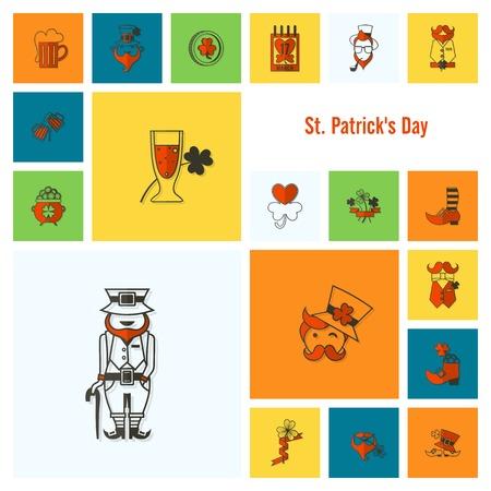 minimální: Saint Patricks Day Icon Set. Vector. Čistá práce Minimální počet bodů Ilustrace