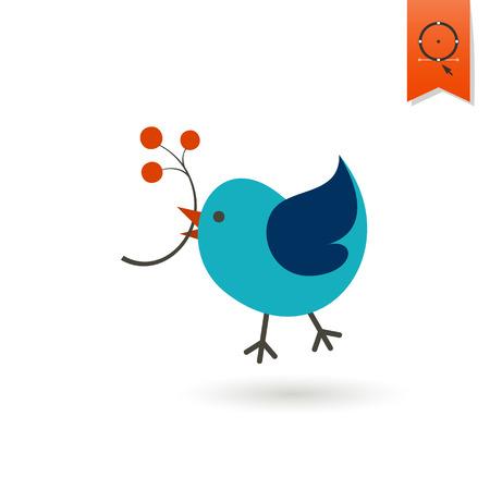 tweet icon: Bird with Viburnum. Single Flat Autumn Icon . Simple and Minimalistic Style. Vector