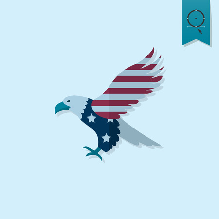 aguila calva: 4 de julio, Día de la Independencia de los Estados Unidos, Icono plana simple.