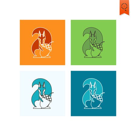 acorn squirrel: Squirrel Holding Acorn. Single Flat Autumn Icon . Simple and Minimalistic Style. Vector Illustration