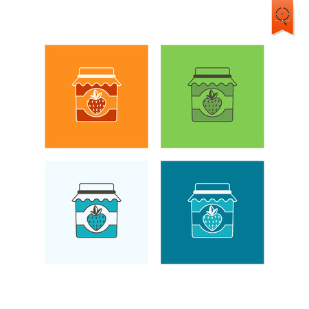strawberry jam: Jar of Strawberry Jam and Strawberry. Single Flat Autumn Icon . Simple and Minimalistic Style. Vector