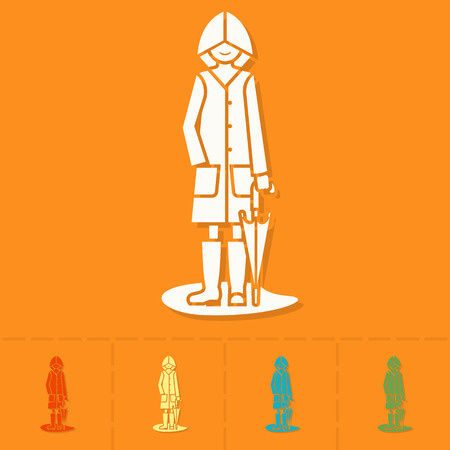 raincoat: Woman with Umbrella and Raincoat on the Puddle. Single Flat Autumn Icon . Simple and Minimalistic Style. Vector