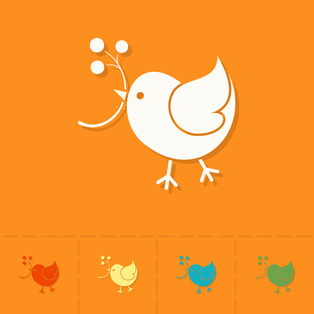 viburnum: Bird with Viburnum. Single Flat Autumn Icon . Simple and Minimalistic Style. Vector