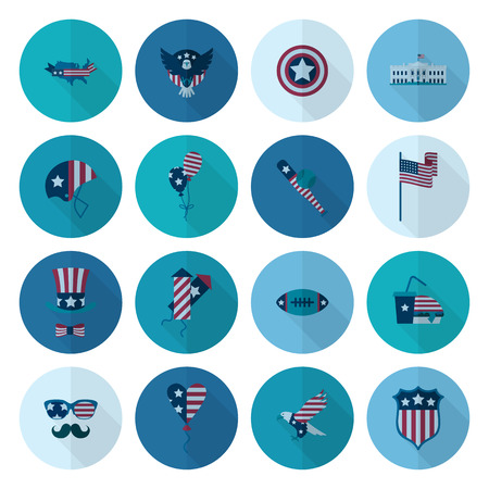 american football helmet set: 4th of July, Independence Day of the United States, Simple Flat Icons. Vector