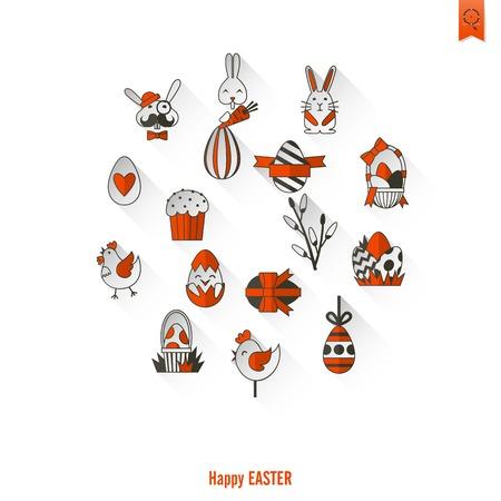 minimální: Oslava Velikonoční ikony. Vector. Čistá práce Minimální počet bodů Ilustrace