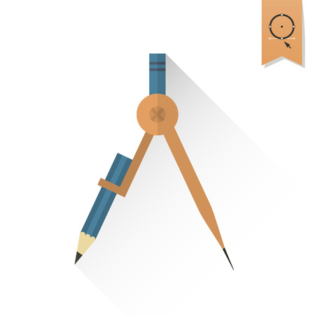 draftsmanship: School and Education Icon - Compass.  Illustration. Flat design style