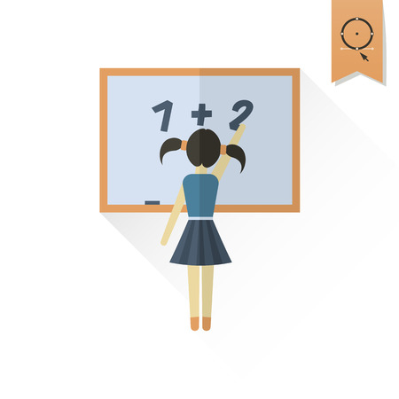 wooden board: School and Education Icon - Girl Writing on a Blackboard. . Flat design style