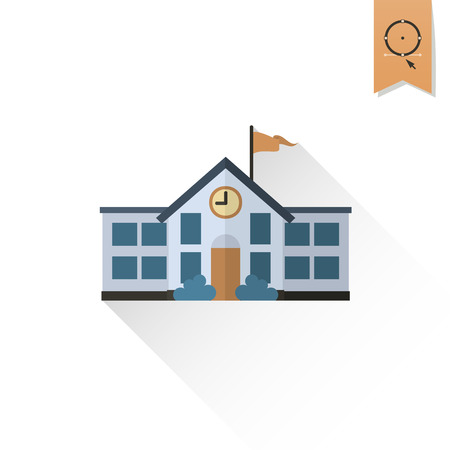 building color: School and Education Icon - School Building.  Illustration. Flat design style
