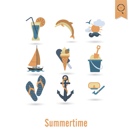 flippers: Summer and Beach Simple Flat Icons, Travel and Vacation.  Illustration