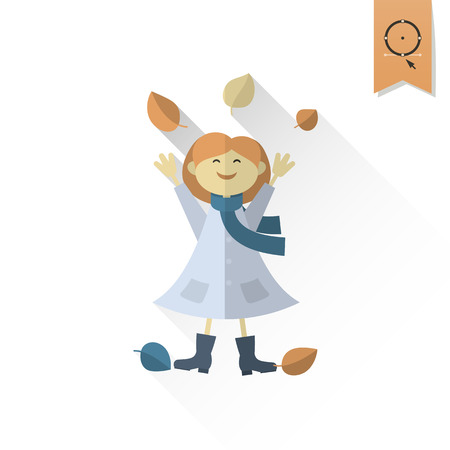 simple girl: Cheerful Girl with Leaves. Single Flat Autumn Icon . Simple and Minimalistic Style. Vector Illustration