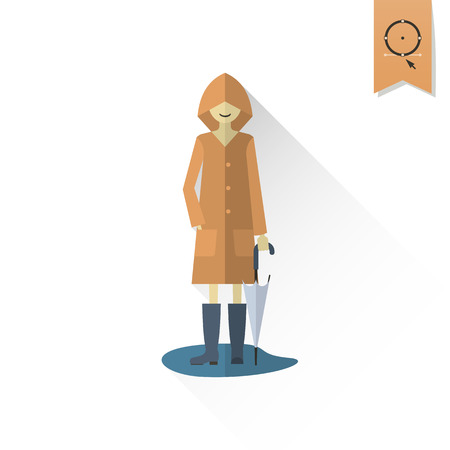 autumn woman: Woman with Umbrella and Raincoat on the Puddle. Single Flat Autumn Icon . Simple and Minimalistic Style. Vector
