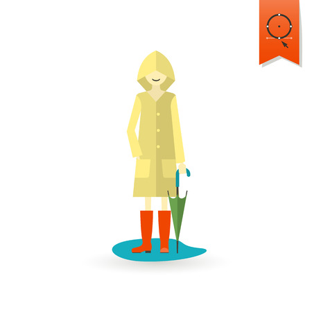 autumn woman: Woman with Umbrella and Raincoat on the Puddle. Single Flat Autumn Icon . Simple and Minimalistic Style. Stock Photo