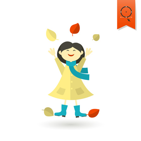 simple girl: Cheerful Girl with Leaves. Single Flat Autumn Icon . Simple and Minimalistic Style. Stock Photo