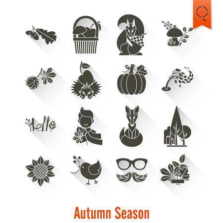 fruit basket: Set of Flat Autumn Icons. Simple and Minimalistic Style.