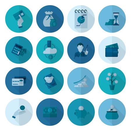 signos de pesos: Negocios y finanzas, Icon Set plana