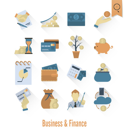 cashless payment: Business and Finance, Flat Icon Set