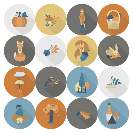 minimalist style: Set of Flat Autumn Icons. Simple and Minimalist Style