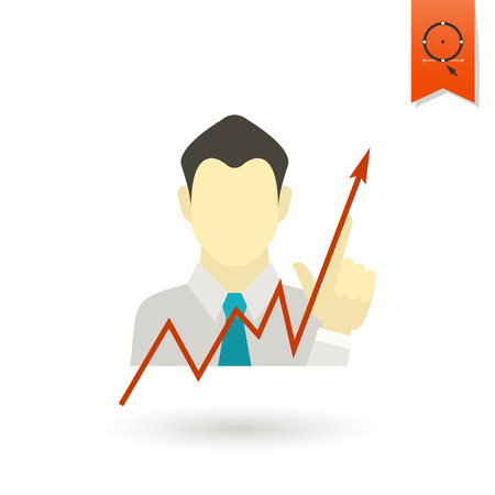 pointing up: Business Graph with Hand Pointing Up. Business and Finance, Single Flat Icon Vettoriali