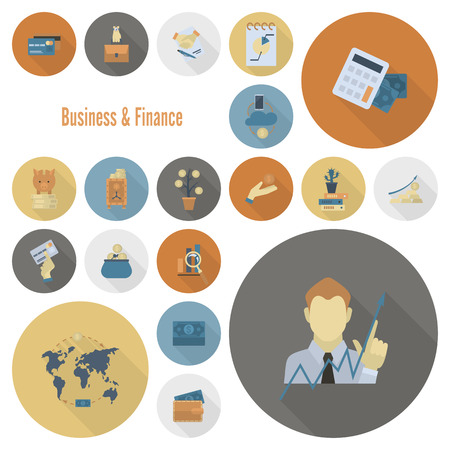 cashless payment: Business and Finance, Flat Icon Set. Simple and Minimalistic Style