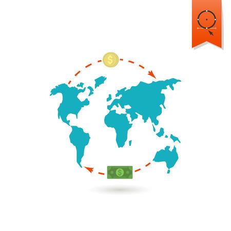 banco mundial: Mapa del Mundo y el dinero. Negocios y finanzas, solo icono plana
