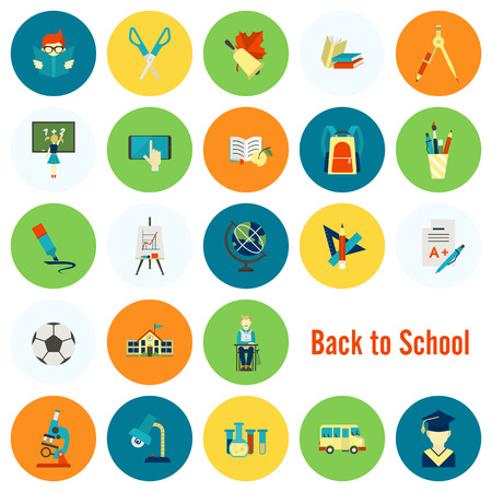 School and Education Icon Set Illustration