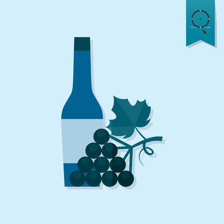 abstract liquor: Bottle of Wine and Grapes. Single Flat Autumn Icon . Simple and Minimalistic Style. Vector Illustration