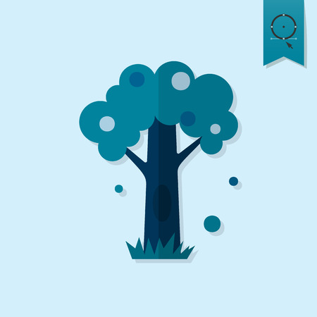 hollow: Stylized Tree with Hollow. Single Flat Autumn Icon
