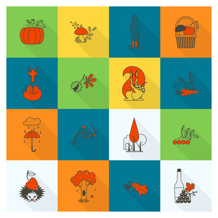 grapes and mushrooms: Set of Flat Autumn Icons Illustration