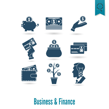 icon collection: Business and Finance, Flat Icon Set. Simple and Minimalistic Style