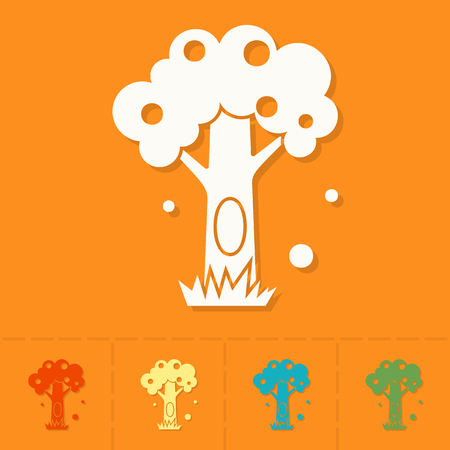 hollow: Stylized Tree with Hollow. Single Flat Autumn Icon . Simple and Minimalistic Style. Stock Photo