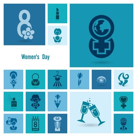 yeux: Design Elements for International Womens Day March 8, Icons.