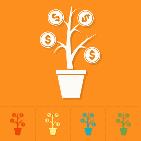 flower tree: Money Flower. Business and Finance, Single Flat Icon
