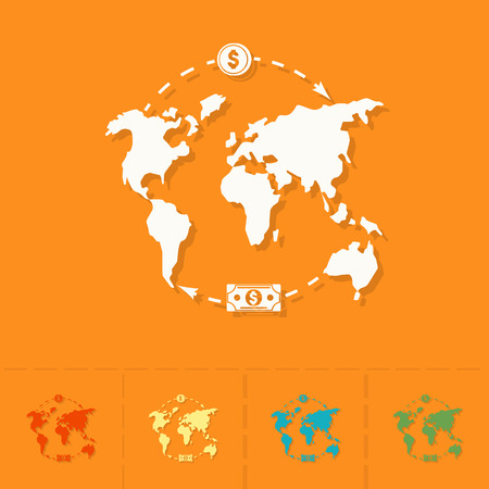 World map and money business and finance single flat icon simple world map and money business and finance single flat icon gumiabroncs Image collections