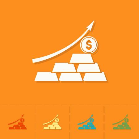 pointing up: Grafico commerciale con la freccia verso l'alto. Affari e Finanza, Icona singolo piatto